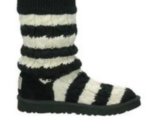 Ugg black white striped classic Cardy boots 5
